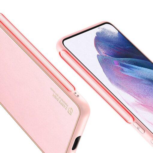 Samsung S21 Plus umbris Dux Ducis Yolo elegant kunstnahast ja silikoonist servadega roosa 8