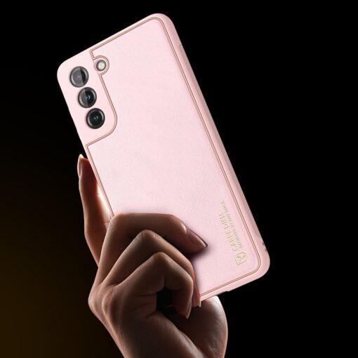 Samsung S21 Plus umbris Dux Ducis Yolo elegant kunstnahast ja silikoonist servadega roosa 9