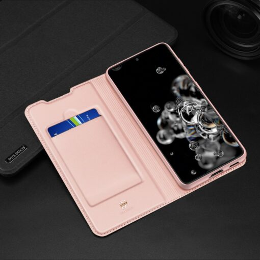 Samsung S21 Ultra kunstnahast kaaned DUX DUCIS Skin Pro Bookcase roosa 11