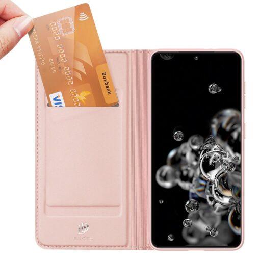 Samsung S21 Ultra kunstnahast kaaned DUX DUCIS Skin Pro Bookcase roosa 3