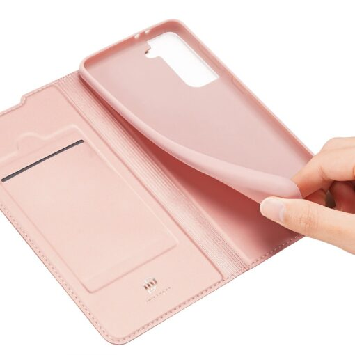 Samsung S21 Ultra kunstnahast kaaned DUX DUCIS Skin Pro Bookcase roosa 5
