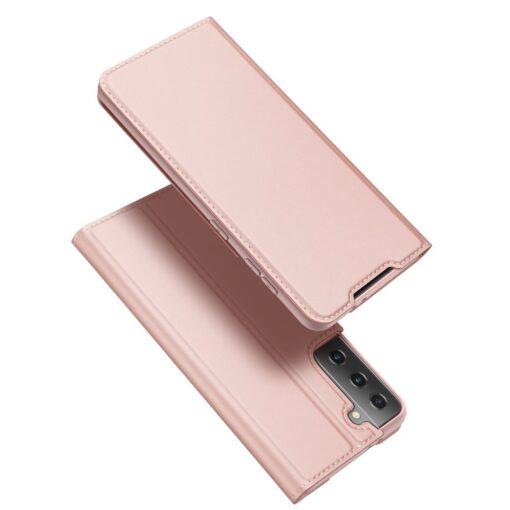 Samsung S21 Ultra kunstnahast kaaned DUX DUCIS Skin Pro Bookcase roosa