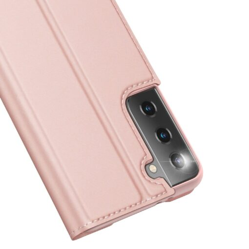 Samsung S21 Ultra kunstnahast kaaned DUX DUCIS Skin Pro Bookcase roosa 7