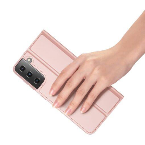 Samsung S21 Ultra kunstnahast kaaned DUX DUCIS Skin Pro Bookcase roosa 8