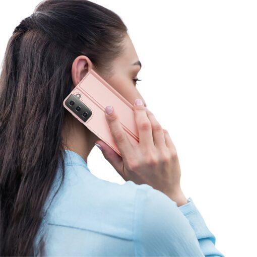 Samsung S21 Ultra kunstnahast kaaned DUX DUCIS Skin Pro Bookcase roosa 9