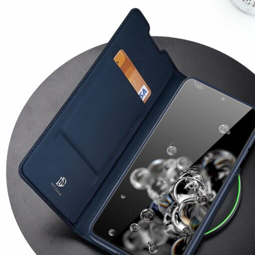 Samsung S21 Ultra kunstnahast kaaned DUX DUCIS Skin Pro Bookcase sinine 13