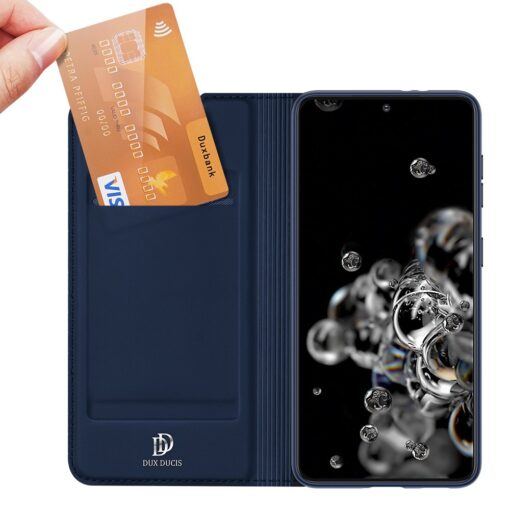 Samsung S21 Ultra kunstnahast kaaned DUX DUCIS Skin Pro Bookcase sinine 3