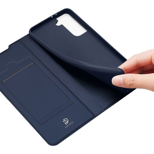 Samsung S21 Ultra kunstnahast kaaned DUX DUCIS Skin Pro Bookcase sinine 5