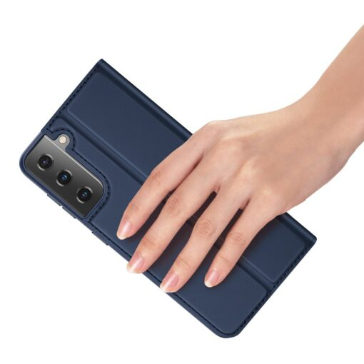 Samsung S21 Ultra kunstnahast kaaned DUX DUCIS Skin Pro Bookcase sinine 7