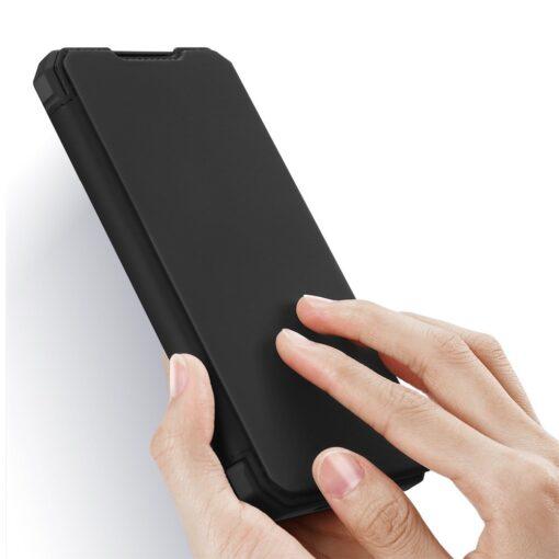 Samsung S21 Ultra kunstnahast kaaned kaarditaskuga DUX DUCIS Skin Pro must 1