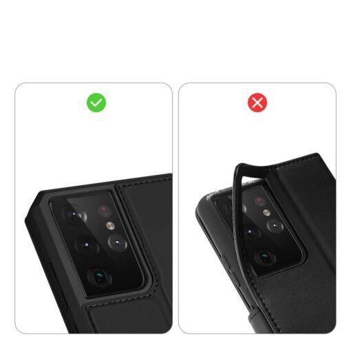 Samsung S21 Ultra kunstnahast kaaned kaarditaskuga DUX DUCIS Skin Pro must 10