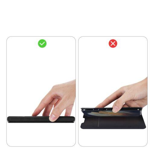 Samsung S21 Ultra kunstnahast kaaned kaarditaskuga DUX DUCIS Skin Pro must 11