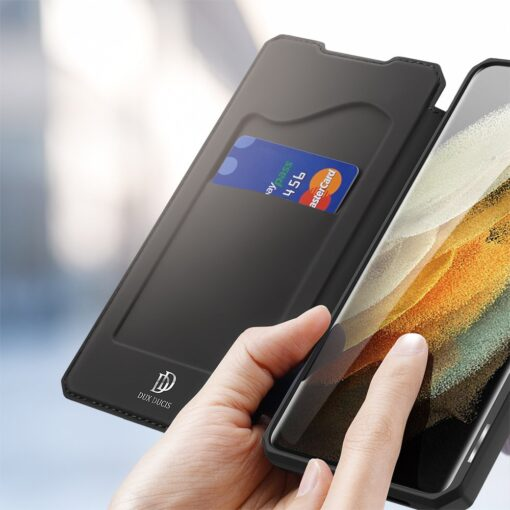 Samsung S21 Ultra kunstnahast kaaned kaarditaskuga DUX DUCIS Skin Pro must 2