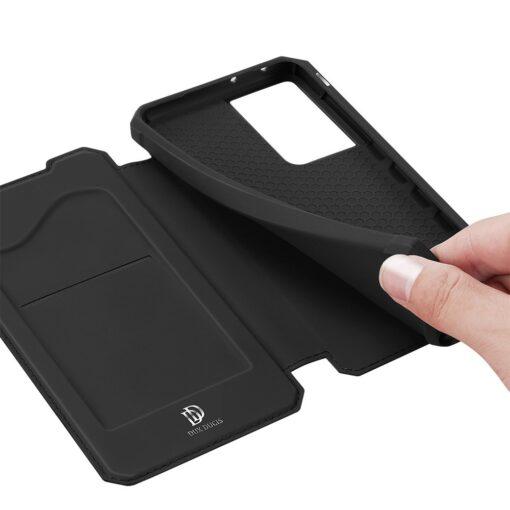 Samsung S21 Ultra kunstnahast kaaned kaarditaskuga DUX DUCIS Skin Pro must 6