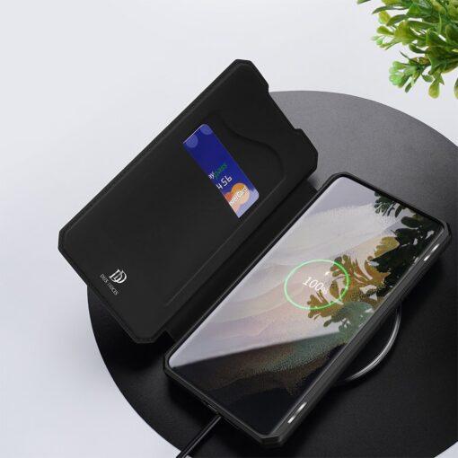 Samsung S21 Ultra kunstnahast kaaned kaarditaskuga DUX DUCIS Skin Pro must 7