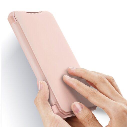Samsung S21 Ultra kunstnahast kaaned kaarditaskuga DUX DUCIS Skin Pro roosa 1