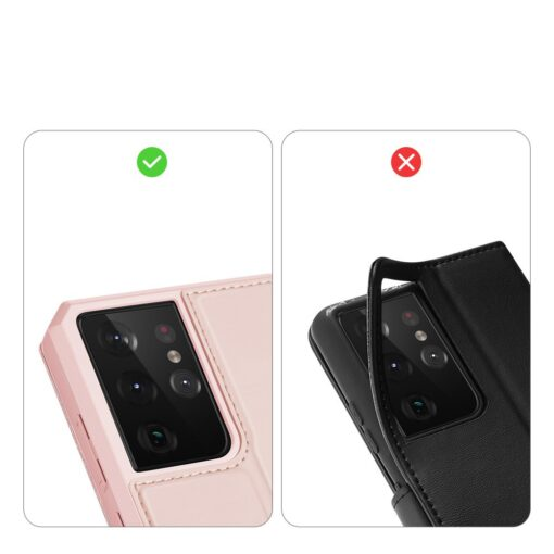 Samsung S21 Ultra kunstnahast kaaned kaarditaskuga DUX DUCIS Skin Pro roosa 10