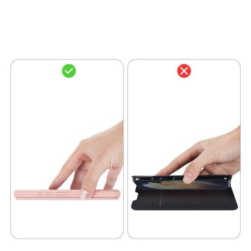 Samsung S21 Ultra kunstnahast kaaned kaarditaskuga DUX DUCIS Skin Pro roosa 11
