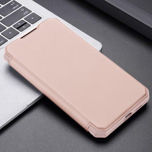 Samsung S21 Ultra kunstnahast kaaned kaarditaskuga DUX DUCIS Skin Pro roosa 12