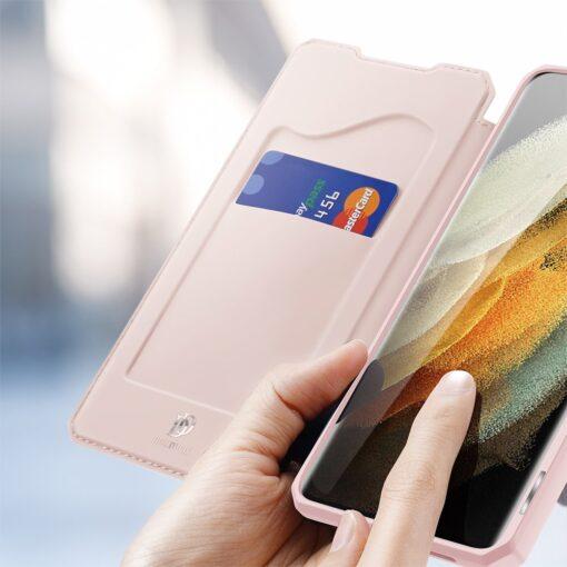 Samsung S21 Ultra kunstnahast kaaned kaarditaskuga DUX DUCIS Skin Pro roosa 2