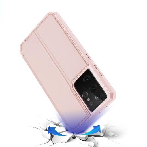 Samsung S21 Ultra kunstnahast kaaned kaarditaskuga DUX DUCIS Skin Pro roosa 3