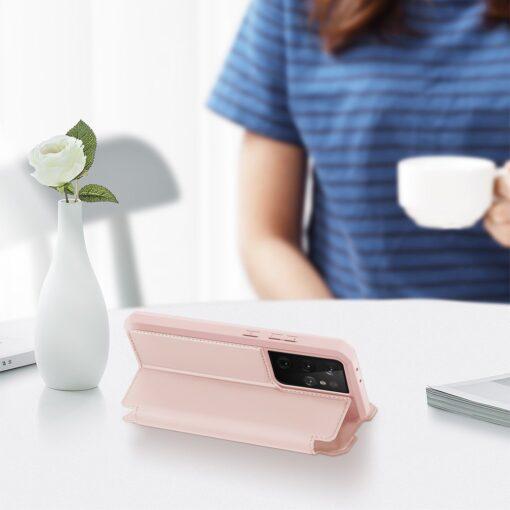 Samsung S21 Ultra kunstnahast kaaned kaarditaskuga DUX DUCIS Skin Pro roosa 5