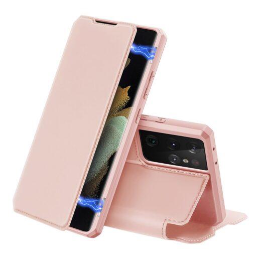 Samsung S21 Ultra kunstnahast kaaned kaarditaskuga DUX DUCIS Skin Pro roosa