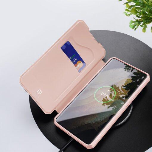 Samsung S21 Ultra kunstnahast kaaned kaarditaskuga DUX DUCIS Skin Pro roosa 7