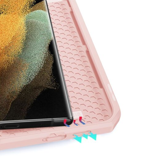 Samsung S21 Ultra kunstnahast kaaned kaarditaskuga DUX DUCIS Skin Pro roosa 8