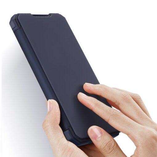Samsung S21 Ultra kunstnahast kaaned kaarditaskuga DUX DUCIS Skin Pro sinine 1