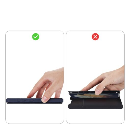 Samsung S21 Ultra kunstnahast kaaned kaarditaskuga DUX DUCIS Skin Pro sinine 10