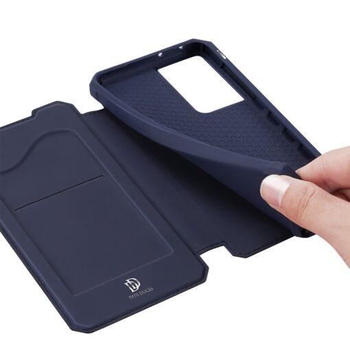 Samsung S21 Ultra kunstnahast kaaned kaarditaskuga DUX DUCIS Skin Pro sinine 11