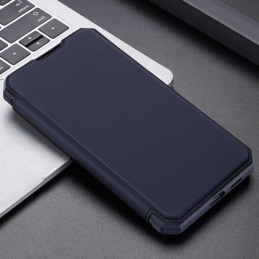 Samsung S21 Ultra kunstnahast kaaned kaarditaskuga DUX DUCIS Skin Pro sinine 13