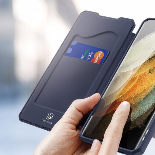 Samsung S21 Ultra kunstnahast kaaned kaarditaskuga DUX DUCIS Skin Pro sinine 2