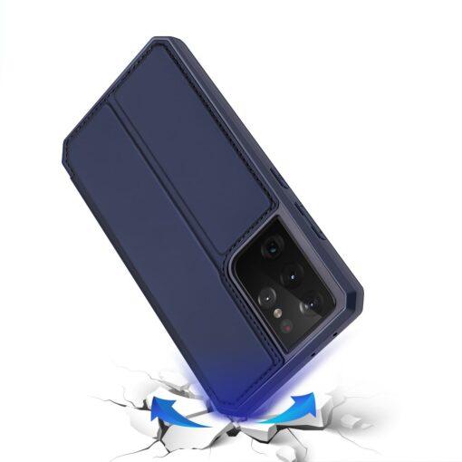 Samsung S21 Ultra kunstnahast kaaned kaarditaskuga DUX DUCIS Skin Pro sinine 3