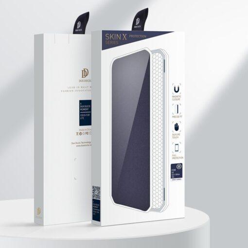 Samsung S21 Ultra kunstnahast kaaned kaarditaskuga DUX DUCIS Skin Pro sinine 4
