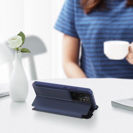 Samsung S21 Ultra kunstnahast kaaned kaarditaskuga DUX DUCIS Skin Pro sinine 5