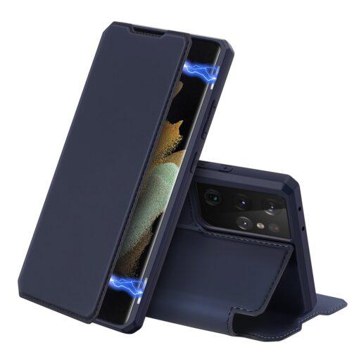 Samsung S21 Ultra kunstnahast kaaned kaarditaskuga DUX DUCIS Skin Pro sinine