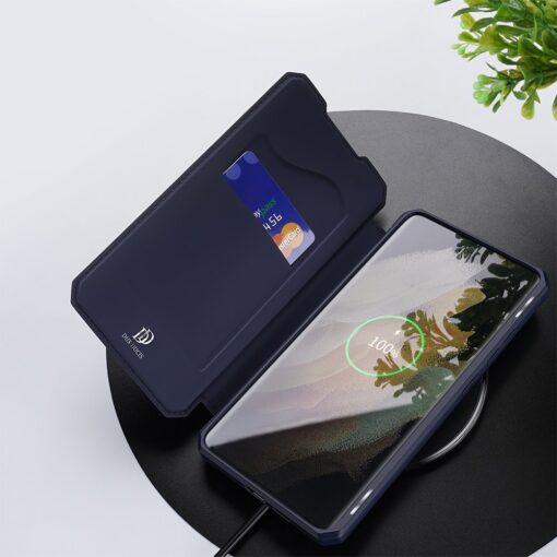 Samsung S21 Ultra kunstnahast kaaned kaarditaskuga DUX DUCIS Skin Pro sinine 6