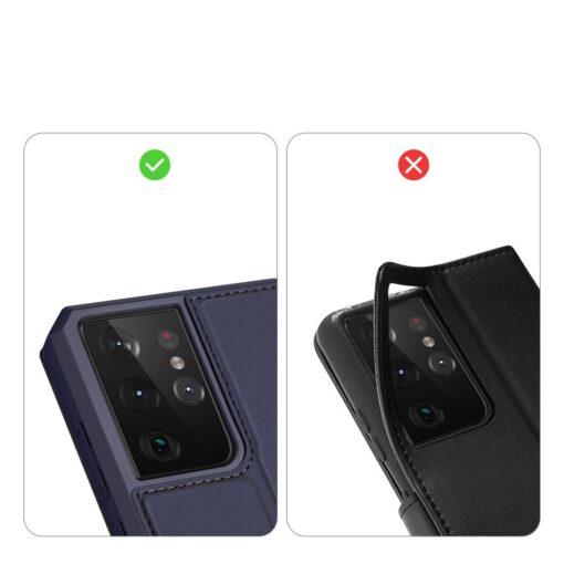 Samsung S21 Ultra kunstnahast kaaned kaarditaskuga DUX DUCIS Skin Pro sinine 9