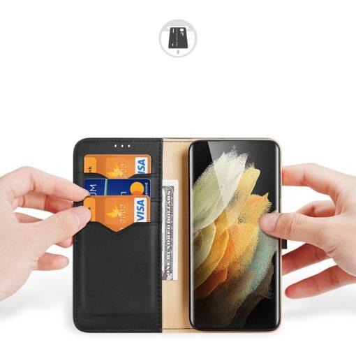 Samsung S21 Ultra nahast raamatkaaned Dux Ducis Hivo must 1