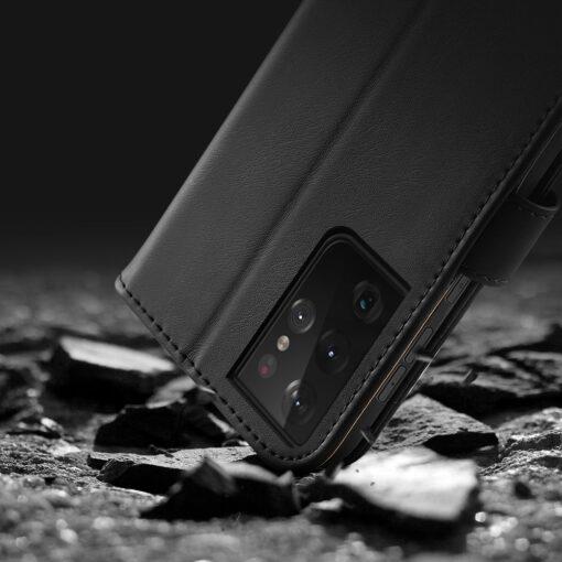 Samsung S21 Ultra nahast raamatkaaned Dux Ducis Hivo must 16