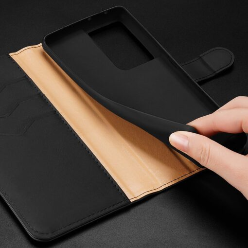 Samsung S21 Ultra nahast raamatkaaned Dux Ducis Hivo must 18