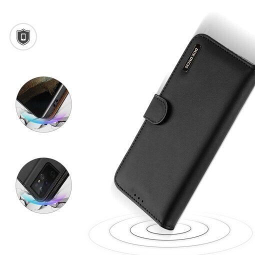 Samsung S21 Ultra nahast raamatkaaned Dux Ducis Hivo must 2