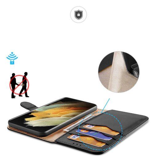 Samsung S21 Ultra nahast raamatkaaned Dux Ducis Hivo must 3