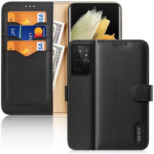 Samsung S21 Ultra nahast raamatkaaned Dux Ducis Hivo must