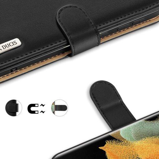 Samsung S21 Ultra nahast raamatkaaned Dux Ducis Hivo must 7