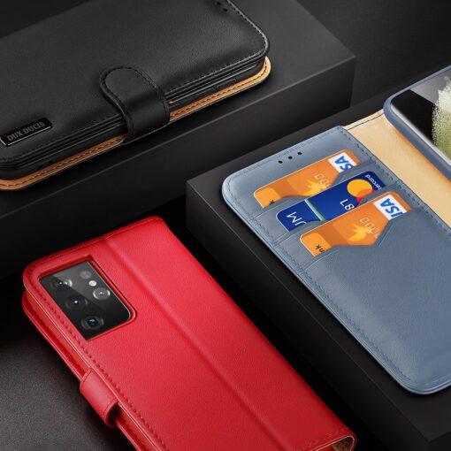 Samsung S21 Ultra nahast raamatkaaned Dux Ducis Hivo must 8