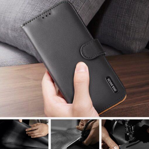 Samsung S21 Ultra nahast raamatkaaned Dux Ducis Hivo must 9