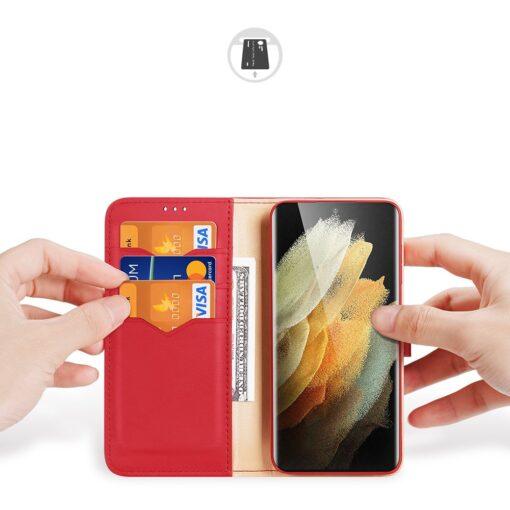 Samsung S21 Ultra nahast raamatkaaned Dux Ducis Hivo punane 1